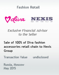 Sale of 100% of Diva fashion accessories retail chain to Nexis Group